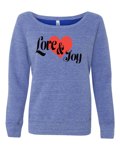 Love & Joy Long Sleeve (Wide Neck) Christian Sweatshirt - Small / Blue Tri-Blend - Christian T-Shirt | Christian Gifts | Christian Apparel - 2