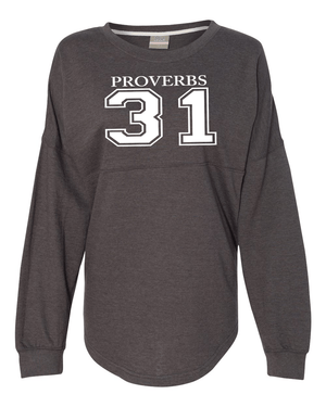 Proverbs 31 Dolman Sleeve Sweatshirt - Small / Charcoal Heather - Christian T-Shirt | Christian Gifts | Christian Apparel - 2