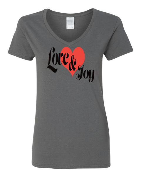 Love & Joy (V-Neck) Christian T-Shirt - Charcoal / Small - Christian T-Shirt | Christian Gifts | Christian Apparel - 1