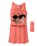 Fearfully and Wonderfully Made II Flowy Racerback Tank - Small / Coral - Christian T-Shirt | Christian Gifts | Christian Apparel - 6