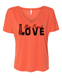 Jesus:  My First Love Ladies' Slouchy V-Neck Christian T-Shirt - S / Coral - Christian T-Shirt | Christian Gifts | Christian Apparel - 4