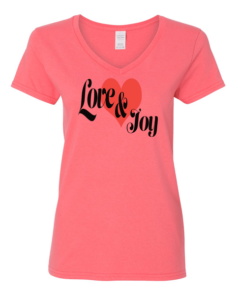 Love & Joy (V-Neck) Christian T-Shirt - Coral / Small - Christian T-Shirt | Christian Gifts | Christian Apparel - 2