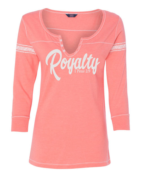 Royalty Ladies 3/4 Sleeve Henley Slim Fit
