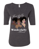 Fearfully & Wonderfully Made Ladies 3/4 Sleeve Tee - S / Dark Grey - Christian T-Shirt | Christian Gifts | Christian Apparel - 2