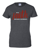 With Faith Women's Crew Neck Tee - Small / Dark Heather - Christian T-Shirt | Christian Gifts | Christian Apparel - 3