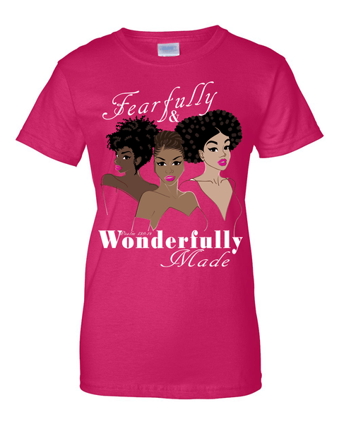 Fearfully and Wonderfully Made II Classic Fit (Crew Neck) Christian T-Shirt - Small / Dark Pink - Christian T-Shirt | Christian Gifts | Christian Apparel - 4