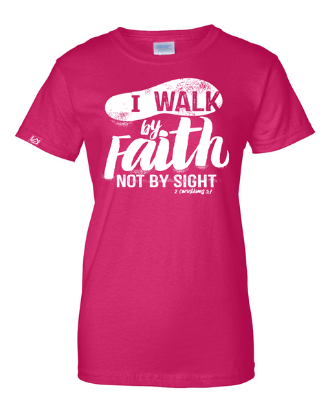 Walk by Faith Women's Classic Fit T-Shirt - Small / Dark Pink - Christian T-Shirt | Christian Gifts | Christian Apparel - 2