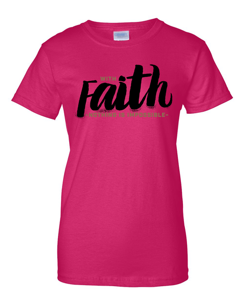With Faith Women's Crew Neck Tee - Small / Dark Pink - Christian T-Shirt | Christian Gifts | Christian Apparel - 4
