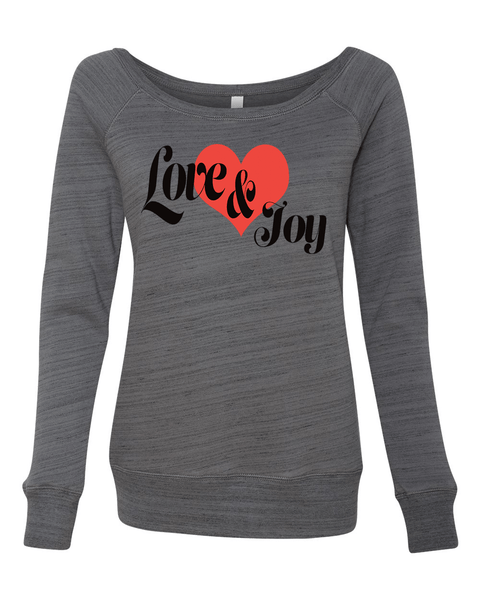 Love & Joy Long Sleeve (Wide Neck) Christian Sweatshirt - Small / Deep Grey Marble - Christian T-Shirt | Christian Gifts | Christian Apparel - 3