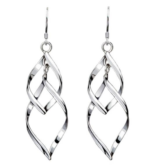Double Twist Earrings (Sterling Silver)