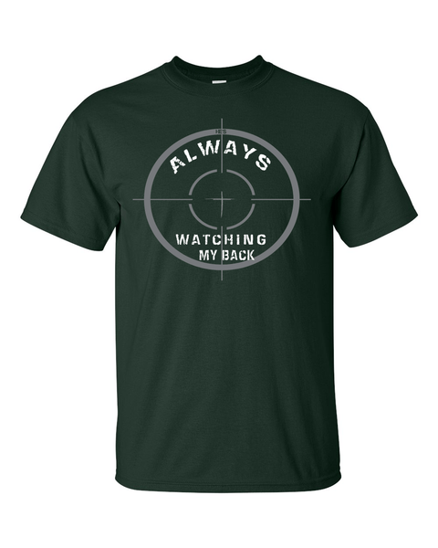 He's Always Watching My Back Men's Christian T-Shirt - Small / Hunter Green - Christian T-Shirt | Christian Gifts | Christian Apparel - 6