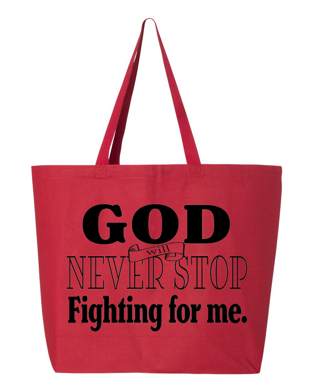 God Fights for Me Jumbo Tote
