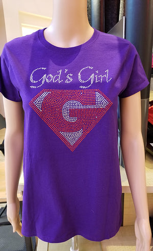 God's Girl Rhinestone Women's Crew Neck Tee