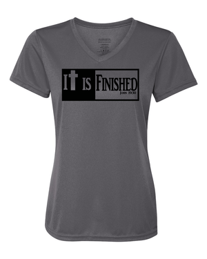 It is Finished Womens V-Neck Performance T-Shirt - Small / Graphite - Christian T-Shirt | Christian Gifts | Christian Apparel - 2