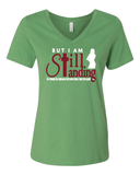 Still Standing Women's V-Neck Tee - Small / Green - Christian T-Shirt | Christian Gifts | Christian Apparel - 3