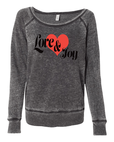 Love & Joy Long Sleeve (Wide Neck) Christian Sweatshirt - Small / Grey Acid Wash - Christian T-Shirt | Christian Gifts | Christian Apparel - 4