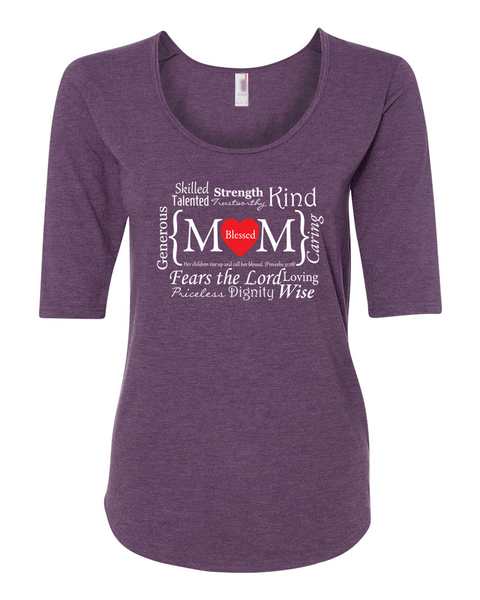 Blessed Mom Women's 1/2 Length Sleeve Tee - 2XL / Heather Purple - Christian T-Shirt | Christian Gifts | Christian Apparel - 3