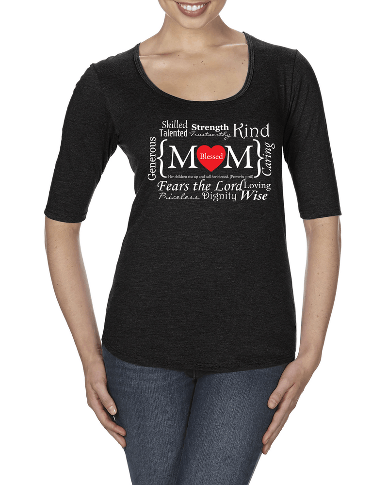 Blessed Mom Women's 1/2 Length Sleeve Tee - S / Black - Christian T-Shirt | Christian Gifts | Christian Apparel - 1