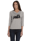 With Faith Womens' 3/4 Sleeve (V-Neck) Jersey T-Shirt - Heather / Small - Christian T-Shirt | Christian Gifts | Christian Apparel - 2