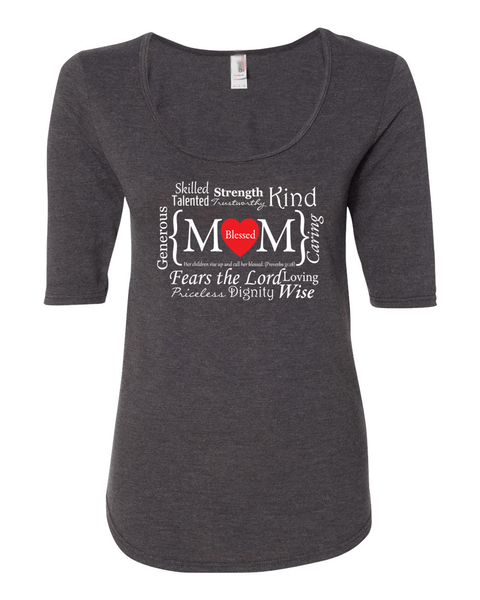 Blessed Mom Women's 1/2 Length Sleeve Tee - S / Dark Grey - Christian T-Shirt | Christian Gifts | Christian Apparel - 2