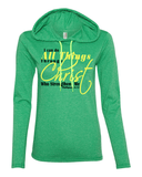 I Can Do All Things Through Christ Womens Lightweight Long-Sleeve Hooded Tee - Small / Heather Green - Christian T-Shirt | Christian Gifts | Christian Apparel - 4