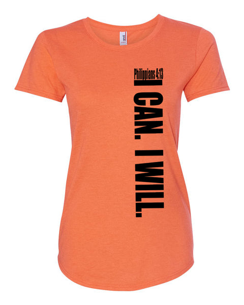 I Can. I Will. (Philippians 4:13) Tri-Blend Scoop Neck Tee