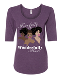 Fearfully & Wonderfully Made Ladies 3/4 Sleeve Tee - S / Heather Purple - Christian T-Shirt | Christian Gifts | Christian Apparel - 3