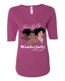 Fearfully & Wonderfully Made Ladies 3/4 Sleeve Tee - S / Heather Raspberry - Christian T-Shirt | Christian Gifts | Christian Apparel - 4