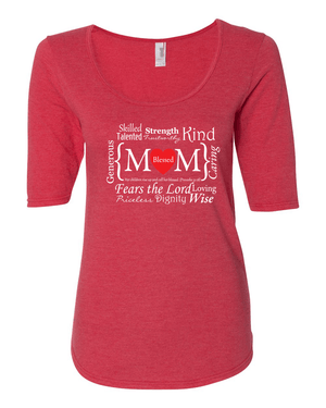 Blessed Mom Women's 1/2 Length Sleeve Tee - S / Heather Red - Christian T-Shirt | Christian Gifts | Christian Apparel - 5