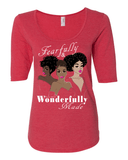 Fearfully & Wonderfully Made Ladies 3/4 Sleeve Tee - S / Heather Red - Christian T-Shirt | Christian Gifts | Christian Apparel - 5