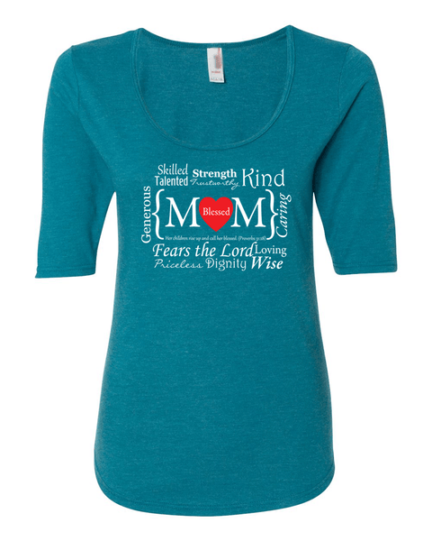 Blessed Mom Women's 1/2 Length Sleeve Tee - S / Heather Turquoise - Christian T-Shirt | Christian Gifts | Christian Apparel - 6