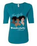 Fearfully & Wonderfully Made Ladies 3/4 Sleeve Tee - S / Heather Turquoise - Christian T-Shirt | Christian Gifts | Christian Apparel - 6