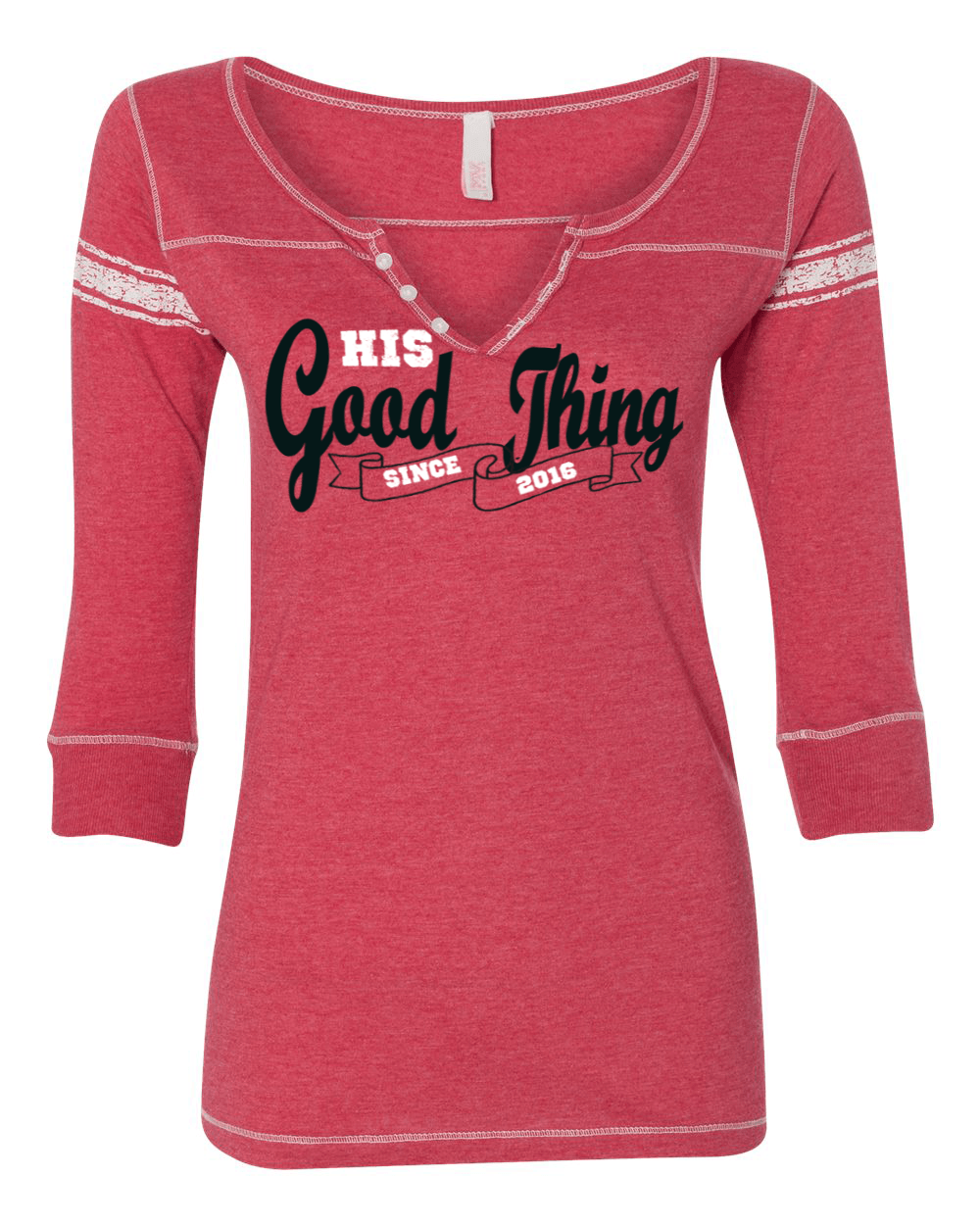 His Good Thing Since....Custom Ladies 3/4 Sleeve Henley Slim Fit - S / Red - Christian T-Shirt | Christian Gifts | Christian Apparel - 4