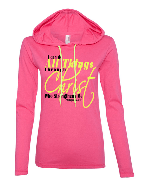 I Can Do All Things Through Christ Womens Lightweight Long-Sleeve Hooded Tee - Small / Hot Pink - Christian T-Shirt | Christian Gifts | Christian Apparel - 5