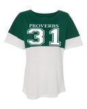 Proverbs 31 Women's Pom Pom Jersey - Small / Hunter Green - Christian T-Shirt | Christian Gifts | Christian Apparel - 5