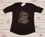 I Can Do All Things Through Christ Rhinestone 3/4 Length Sleeve Tee