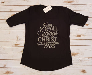 I Can Do All Things Through Christ Rhinestone 1/2 Sleeve Tee