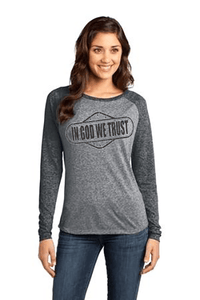 In God We Trust Relaxed Fit Women's Christian T-Shirt - S / Heathered Black/Heathered Nickel - Christian T-Shirt | Christian Gifts | Christian Apparel - 1