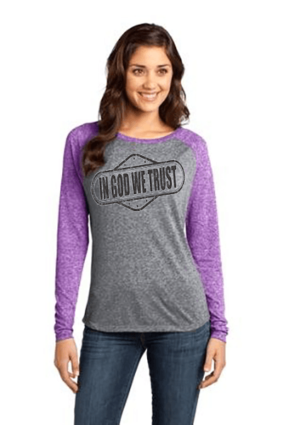 In God We Trust Relaxed Fit Women's Christian T-Shirt - S / Purple Orchid/Heathered Nickel - Christian T-Shirt | Christian Gifts | Christian Apparel - 4