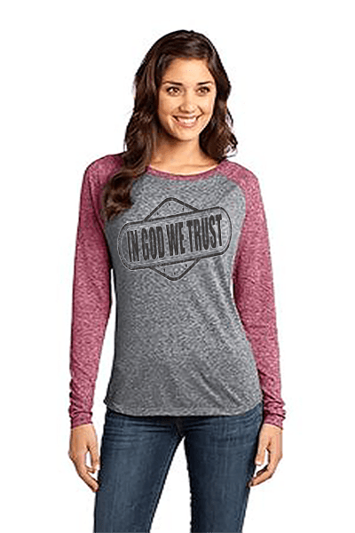 In God We Trust Relaxed Fit Women's Christian T-Shirt - S / Sangria/Heathered Nickel - Christian T-Shirt | Christian Gifts | Christian Apparel - 5
