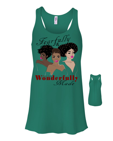 Fearfully and Wonderfully Made II Flowy Racerback Tank - Small / Kelly - Christian T-Shirt | Christian Gifts | Christian Apparel - 1
