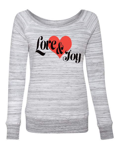 Love & Joy Long Sleeve (Wide Neck) Christian Sweatshirt - Small / Light Grey Marble - Christian T-Shirt | Christian Gifts | Christian Apparel - 5