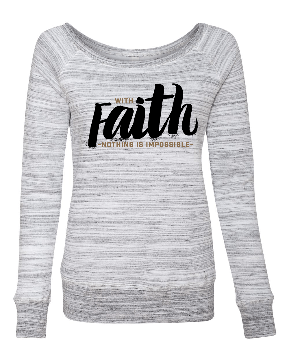 With Faith Long Sleeve (Wide Neck) Christian Sweatshirt - Small / Light Grey Marble - Christian T-Shirt | Christian Gifts | Christian Apparel - 1