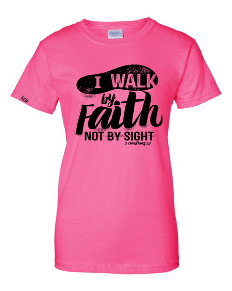 Walk by Faith Women's Classic Fit T-Shirt - Small / Light Pink - Christian T-Shirt | Christian Gifts | Christian Apparel - 3