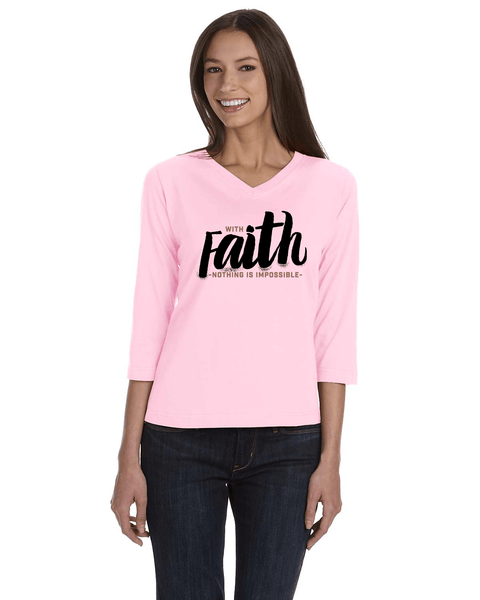 With Faith Womens' 3/4 Sleeve (V-Neck) Jersey T-Shirt - Light Pink / Small - Christian T-Shirt | Christian Gifts | Christian Apparel - 3