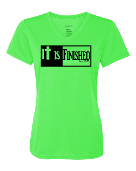 It is Finished Womens V-Neck Performance T-Shirt - Small / Lime - Christian T-Shirt | Christian Gifts | Christian Apparel - 3