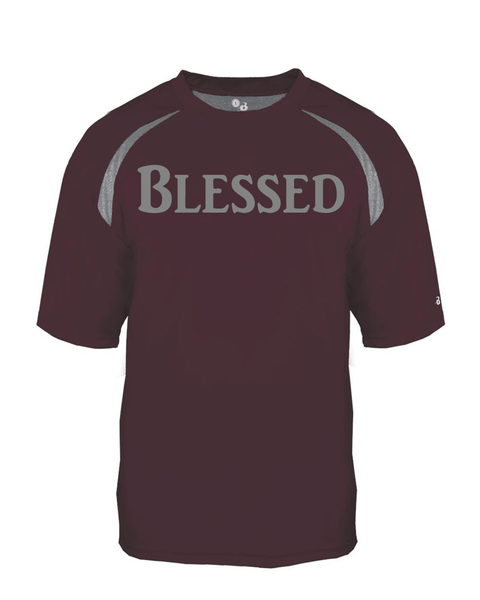 Blessed Mens Performance Christian T-Shirt - Small / Maroon/Steel - Christian T-Shirt | Christian Gifts | Christian Apparel - 3