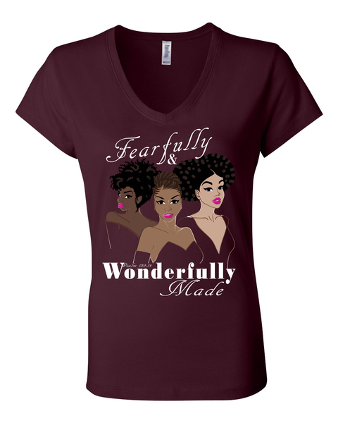 Fearfully and Wonderfully Made II Classic Fit (V-Neck) Christian T-Shirt - Small / Maroon - Christian T-Shirt | Christian Gifts | Christian Apparel - 5
