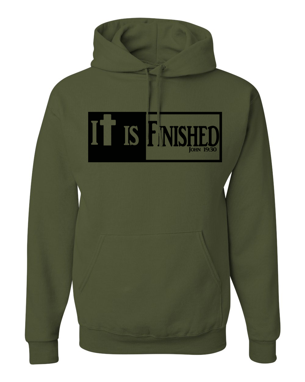 It is Finished Hooded Sweatshirt - Small / Military Green - Christian T-Shirt | Christian Gifts | Christian Apparel - 1