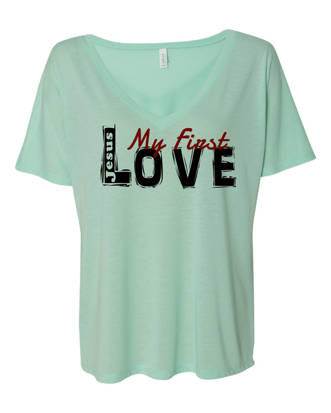 Jesus:  My First Love Ladies' Slouchy V-Neck Christian T-Shirt - S / Mint - Christian T-Shirt | Christian Gifts | Christian Apparel - 5
